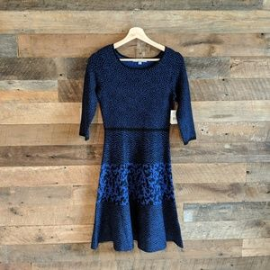 Dresses & Skirts - Blue Fit and Flare Patterned Sweater Dress